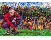 Golf wall art, Golfing art, Man cave wall art, reading the green painting, Golf Green, Golf art by Johno Prascak Limited Edition Print