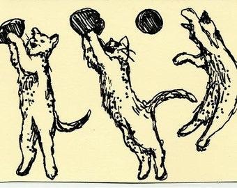 Aceo ORIGINAL pen drawing Cat Art-ATC-Cat Aceo #3