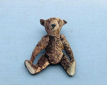antique steiff style teddy bear brooch . teddy bear pin . vintage teddy bear pin
