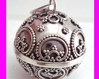 large 22mm round 925 Sterling Silver handcrafted Bali Harmony Jingle Bell Ball Pendant Charm hm47
