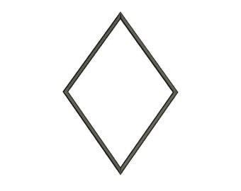 Single Diamond Applique Design Digitized Machine Embroidery Design - 3 Sizes - Instant Download