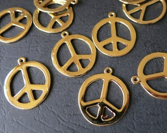 4pcs -Gold Peace Sign Charm Beads 22x25mm -G0876
