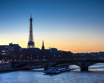 Paris Photography, Eiffel over the Seine, Fine Art Photography, Paris Decor, Eiffel Tower Photo