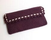 Burgundy rectangular crochet clutch