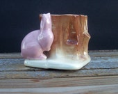 Vintage Morton Pink Rabbit and Stump Planter