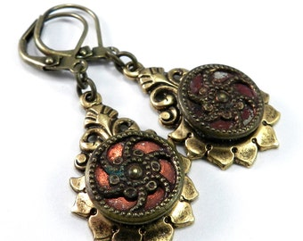Victorian Button Earrings, Red Orange Flame, Antique Button Earrings, Edwardian Teardrop