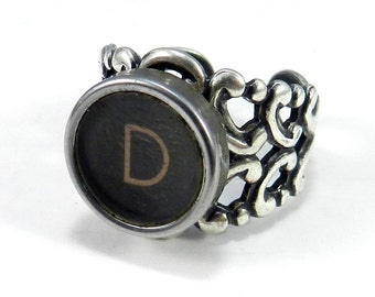Typewriter Key Ring, Steampunk Ring,  Letter D Ring - Name Ring - Custom Initial Ring - Silver Adjustable Ring
