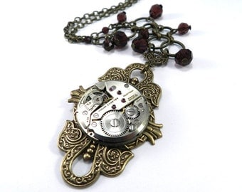 Steampunk WEDDING Necklace, ORNATE Special Occasion BRIDAL Clockwork Burgundy Crystal - Steampunk Wedding Jewelry by Compass Rose Design