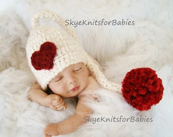 Crochet Baby Hat, Newborn Photo Prop Girl, Heart Elf Hat, Baby Valentines Hat, Crochet Elf Hat, Newborn Elf Hat, Newborn Valentine's Hat