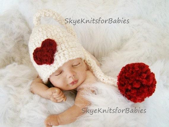 Crocheted Baby Heart Elf Hat, Crochet Elf Hat, Newborn Elf Hat, Valentine's Hat, Newborn Photography Prop