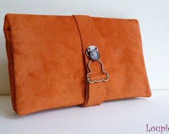 Companion orange leather: checkbook / wallet holder / card holder