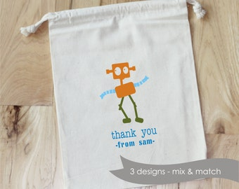 ROBOT FAVOR - Personalized Favor Bags - Set of 10 - Birthday - Robots - Boy