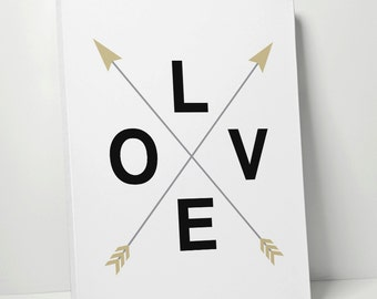 Canvas Gallery Wrap: LOVE Crossed Arrow - Typographic Print Wall Art Home Decor Gift For Wedding Gift for Engagement // Canvas Art