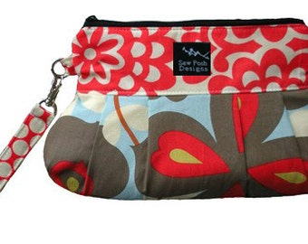 Flowers Polka Dots Red White Blue Gray Fabric Washable Pleated Wristlet Clutch Key Fob Pocket  2 in 1 Morning Glory