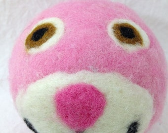 Needle felted pink wool ball with bell inside, wool felt, soft baby ball
