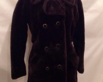 Faux Fur Brown Double Breasted Vintage Coat