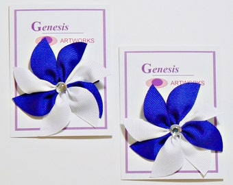 Flower Hair Bow Set Toddler Childrens Boutique Fashion Small Hair Clip Royal Blue Flower Hairbows (Set of 2)