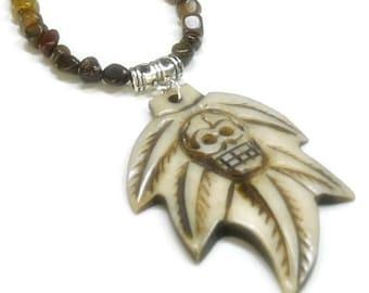 Mens Skull Necklace - Bone Skull Maple Leaf - Mens Tiger Iron Necklace with Bone Skull - Day of the Dead - Rocker - Tribal