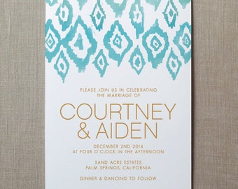Ikat Watercolor Wedding Invitation Suite