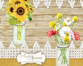 Country Rustic Mason Jars, Digital Clip Art Kit, E14-17A, sunflowers peonies poppies floral flowers card making scrapbooking vintage look