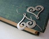 Heart Swirl Earrings - Antiqued Silver Brass Swirl Charm Earrings Silver French Hook Earwires - Saout