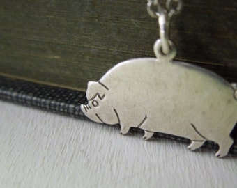 Pig Necklace - Antiqued Silver Pig Charm Necklace Silver Chain