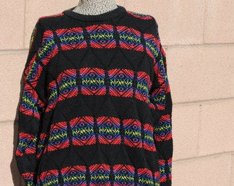 Vintage 1980's Graphic Colorful Sweater