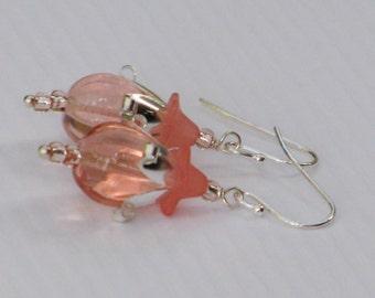 Peach Blossom Earrings - peach, glass, floral, drops, lucite, silver, earrings