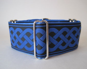 Celtic Martingale Collar, Blue Martingale Collar, 2 Inch Martingale Collar, Celtic Dog Collar, Jacquard Martingale Dog Collar