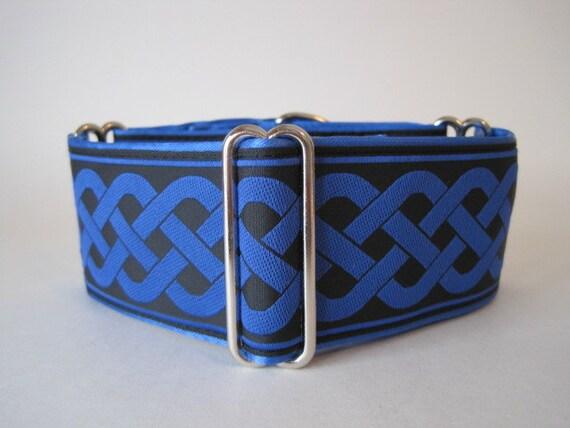 Celtic Martingale Collar, Blue Martingale Collar, 2 Inch Martingale Collar, Celtic Dog Collar, Jacquard Martingale Dog Collar