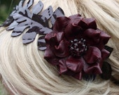 Patent leather burgundy flower headband , crystal beads leather rose maroon hair band fall woodland wedding hair accessory prom wearable art