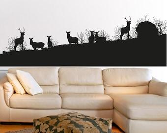 Vinyl Wall Art Decal Sticker Deer Herd Silhouette 5043s