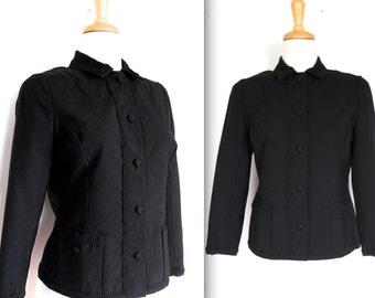 Vintage 1950's Blazer // 50s Black Wool Hourglass Jacket with Braided Trim // DIVINE