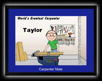 Personalized Cartoon Print - Carpenter Construction (male only) - 8 x 10 Matted Print
