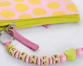 KEYRING // Heart / personalized keyring / personalised key ring / girl / school bag ring / customized gift / custom made