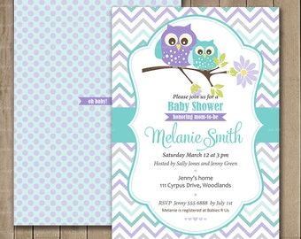 Pastel Owl Shower Invitation, Mauve and Blue Pastel Owl, Baby Shower, Custom Invitation, DIY, 0181b