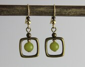 Squared Up  - Natural Stone Serpentine Drop Square Antique Brass Gold Dangle Earring Small Matte Olive Avocado Green Cute Chic