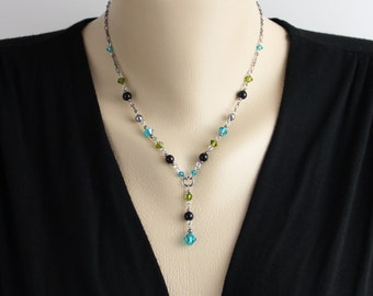 Teal Green Accents Swarovski Crystal Gunmetal Center Drop Necklace Teal Blue Green Black Metallic Gray Simple Classic Delicate