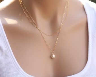 Bridesmaid gifts,Double Layered pearl necklace,Wedding Jewelry,Bridal jewelry,Birthday,Mother Gift,wedding party gifts,pearl necklace