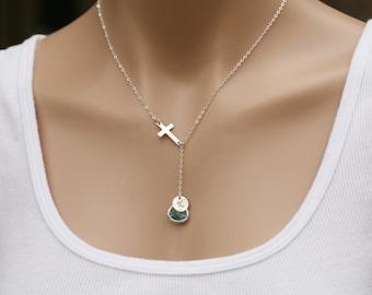 Sideways cross necklace,custom initial necklace,custom font monogram,custom birthstone,stone in bezel,Necklace,Y necklace,Mother jewelry