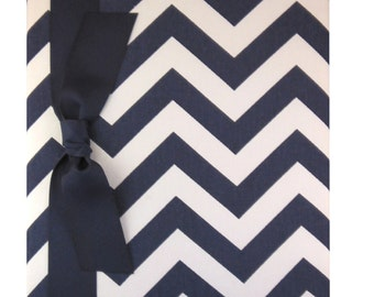 Tight Bound Baby Memory Book - Navy and White Chevron Stripe