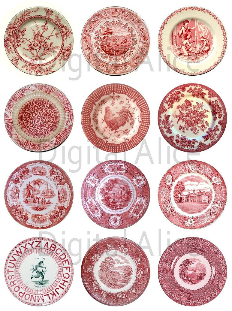 ANTIQUE RED PLATES Craft Circles Instant Download Digital