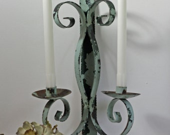 Vintage Wrought Iron Candle Holder Wall Sconce