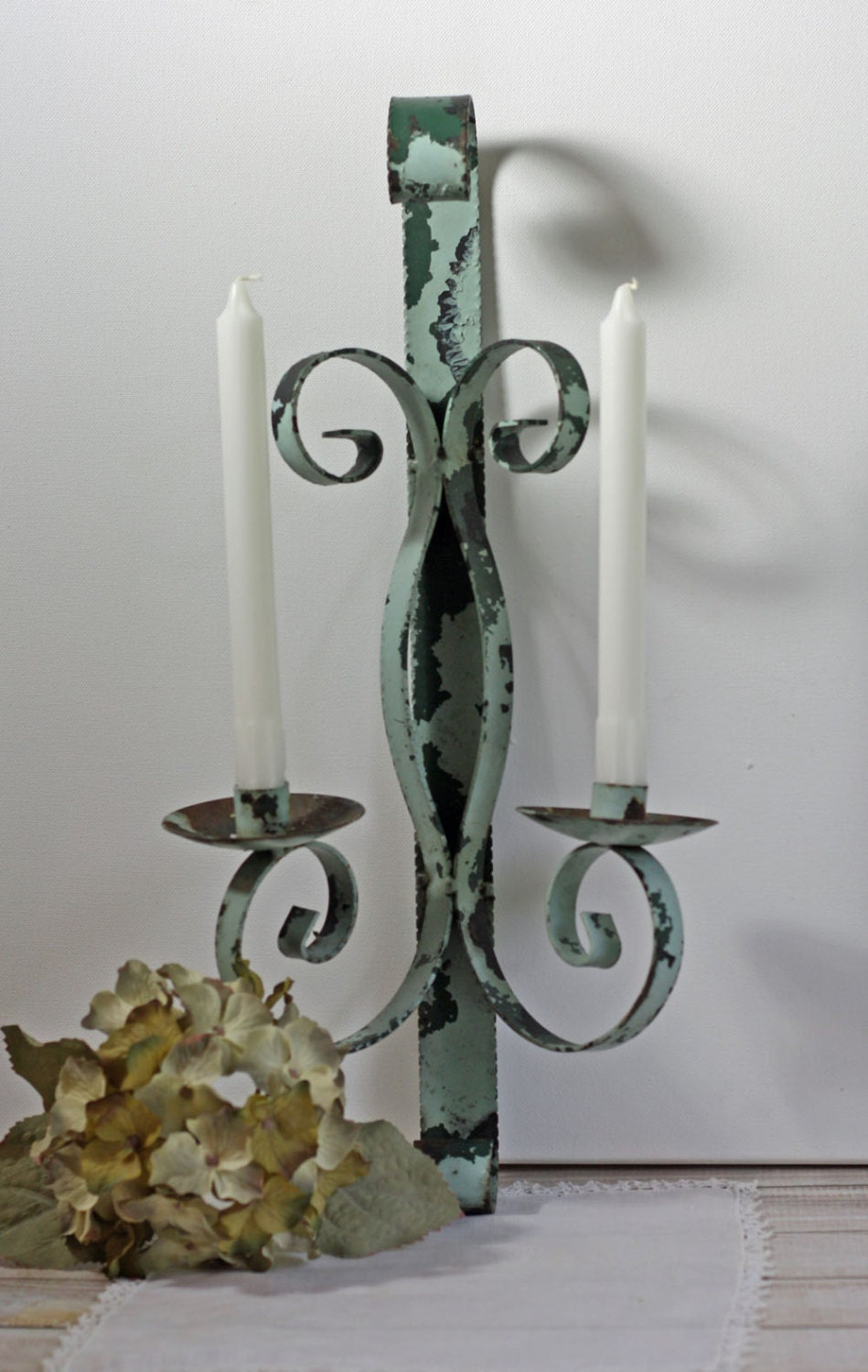 Vintage Wrought Iron Candle Holder Wall by Cottonridgevintage