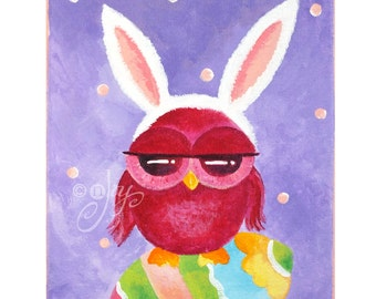 Bunny Whooo? Whimsical Owl Painting, 8x10 Home Decor Wall Art