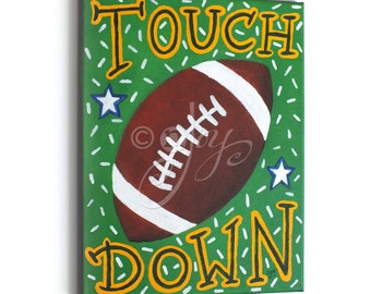Childrens Sports Painting, TOUCH DOWN FOOTBALL No.2, 11x14 Acrylic Wall Art, Baseball Themed Kids Decor