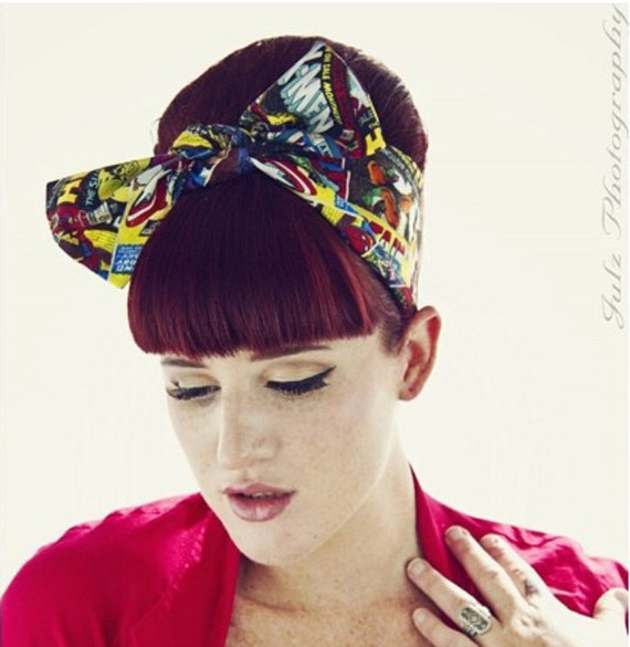 Vintage Inspired Head Scarf, Vintage Comic Book Covers, The Avengers, The Hulk, Iron Man, Spider Man, Thor