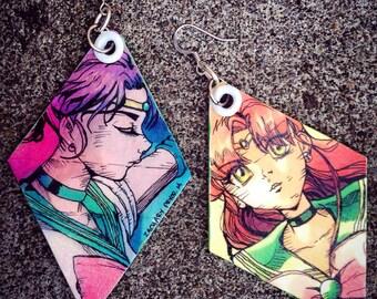 flower hurricane - hand-painted Sailor Jupiter earrings