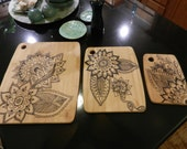 Bamboo Cutting Boards/Traditional Mehndi Art Design/Set of 3