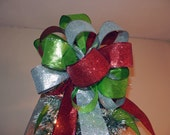 Large red, lime, and silver  Christmas Tree topper bow 8ft tails